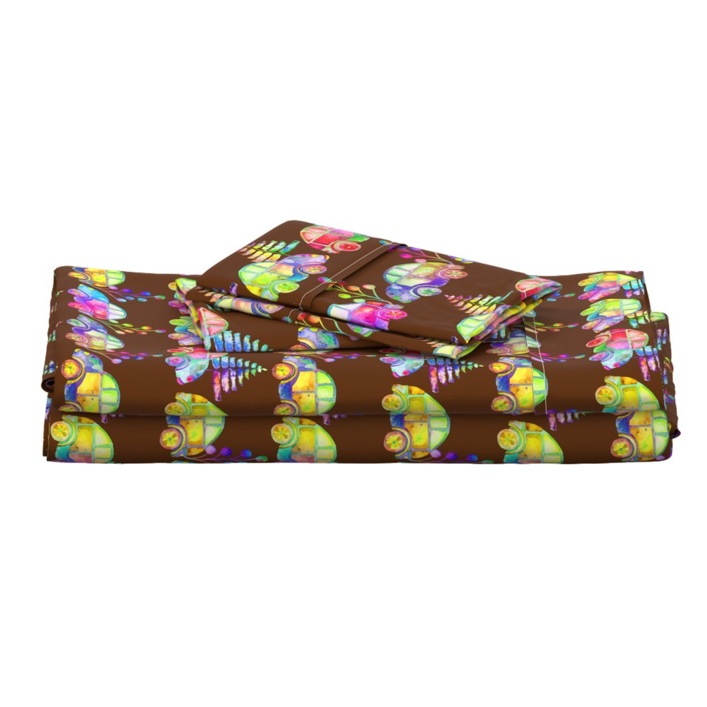 Langshan Full Bed Set featuring WATERCOLOR PRETTY CARS PROCESSION TRAFFIC ON BROWN by paysmage