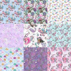 Mermaid Minky Cheater Quilt Spoonflower