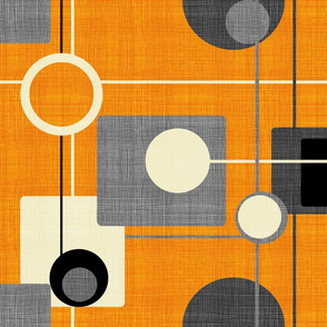 orbs and squares orange and gray