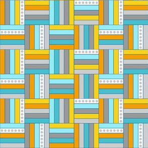 Quilt Squares in Gray, Aqua, Yellow Basketweave