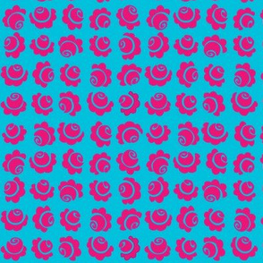 medium roses swirl pink on blue