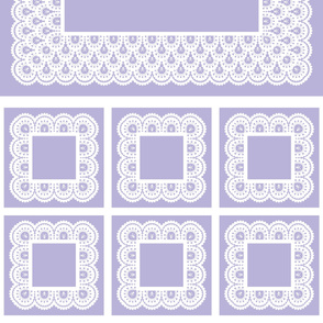 "White Skull and Crossbones Lace on Lavender 40 "" Table Cloth and 6 napkins"