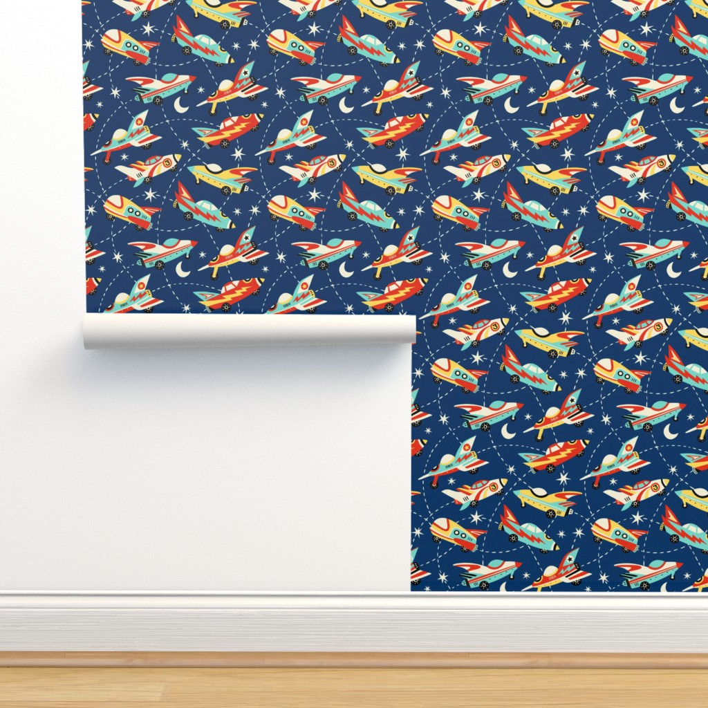 Isobar Durable Wallpaper featuring Vintage space cars - dark blue by mirabelleprint