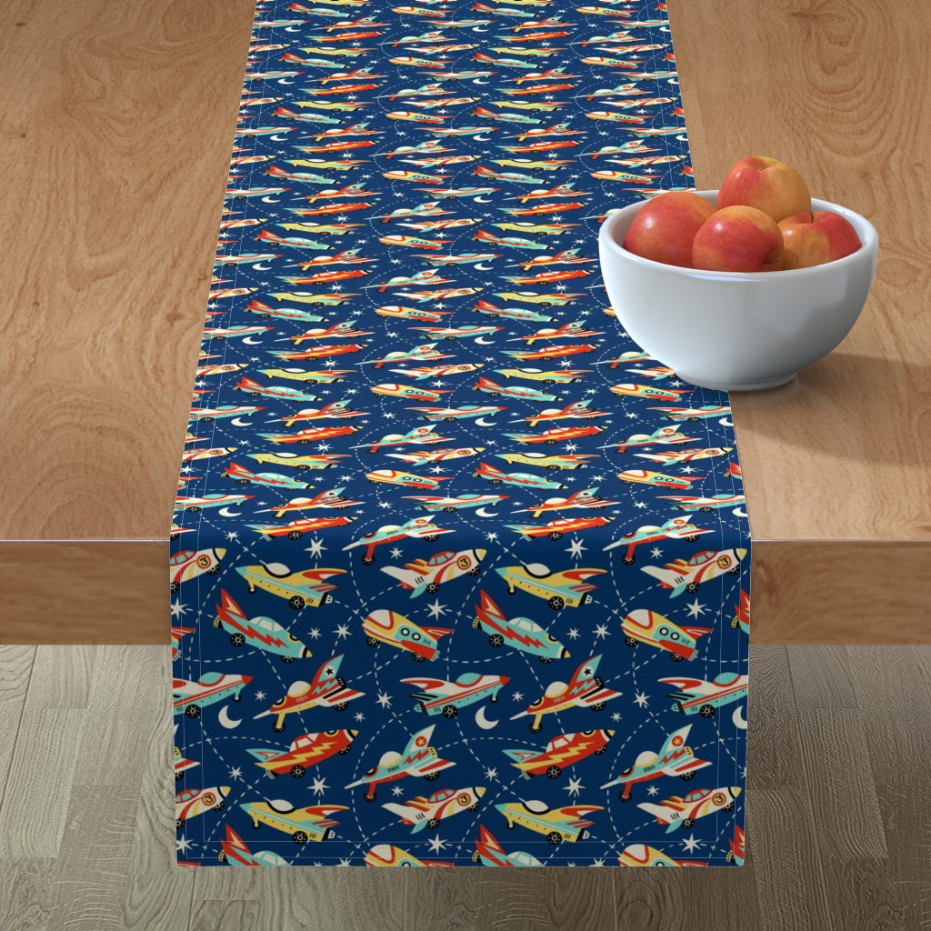 Minorca Table Runner featuring Vintage space cars - dark blue by mirabelleprint