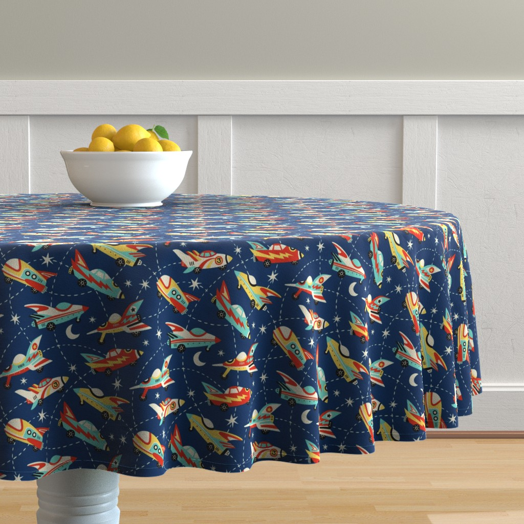 Malay Round Tablecloth featuring Vintage space cars - dark blue by mirabelleprint