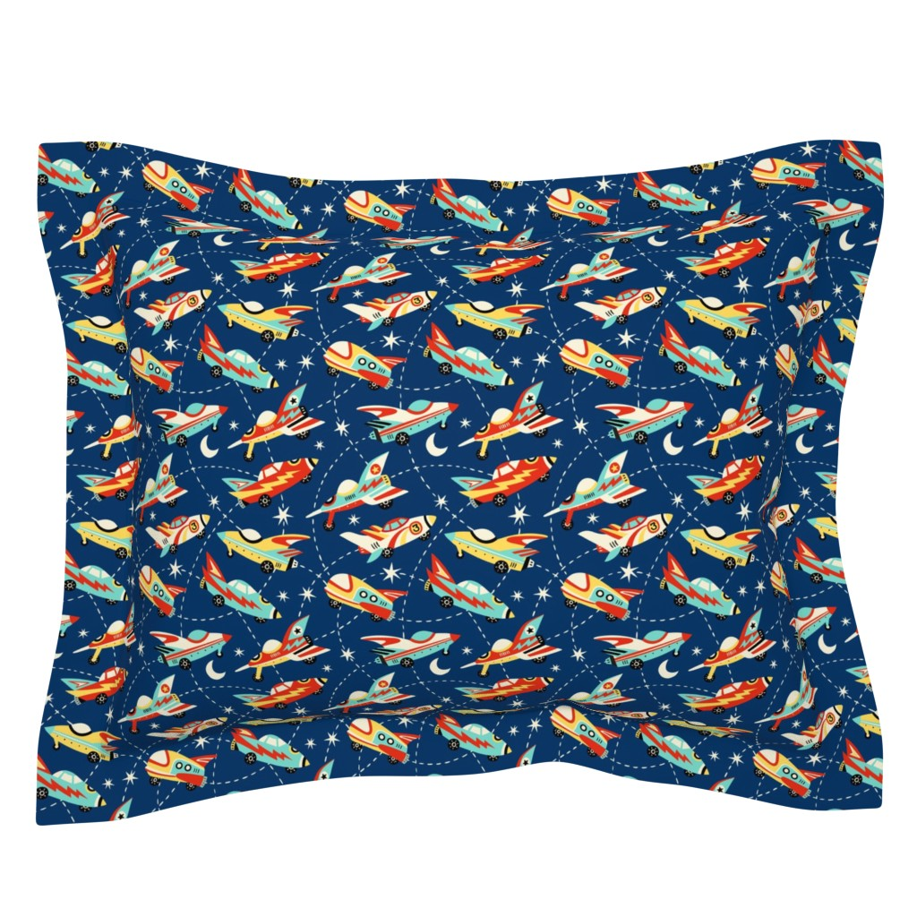 Sebright Pillow Sham featuring Vintage space cars - dark blue by mirabelleprint