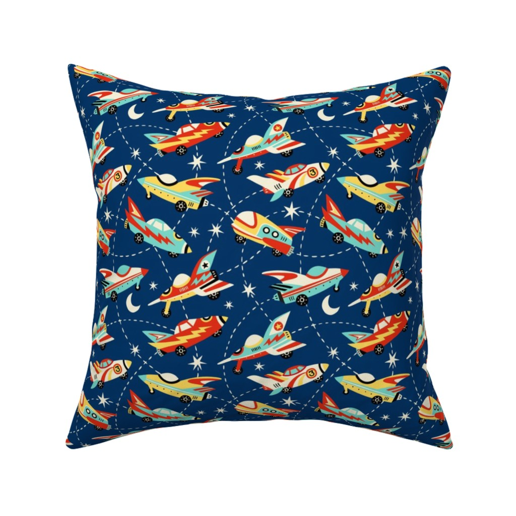 Catalan Throw Pillow featuring Vintage space cars - dark blue by mirabelleprint