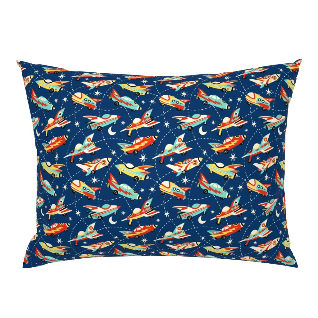 Campine Pillow Sham featuring Vintage space cars - dark blue by mirabelleprint