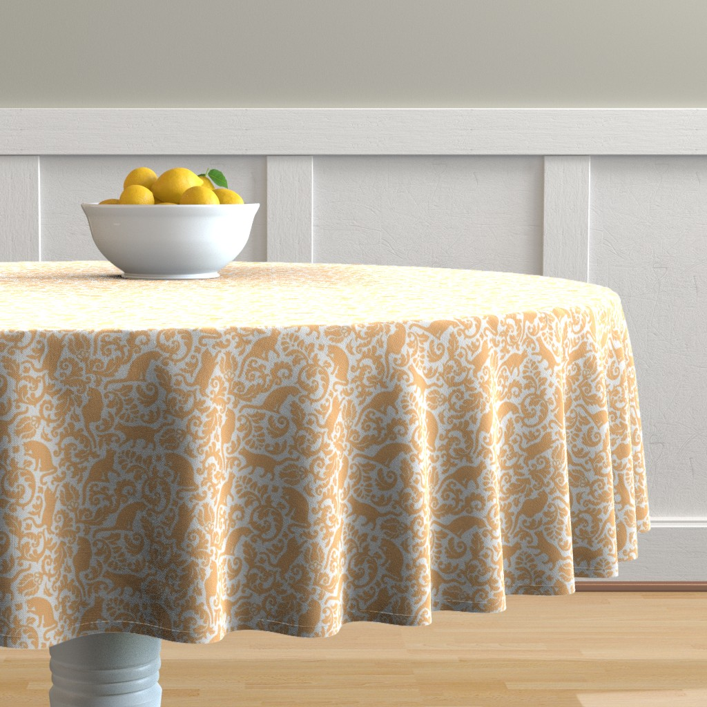 Malay Round Tablecloth featuring Cats in the garden - gold orange (FFC279) by mirabelleprint