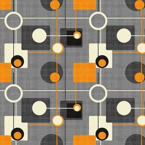 orbs and squares orange and gray inv150