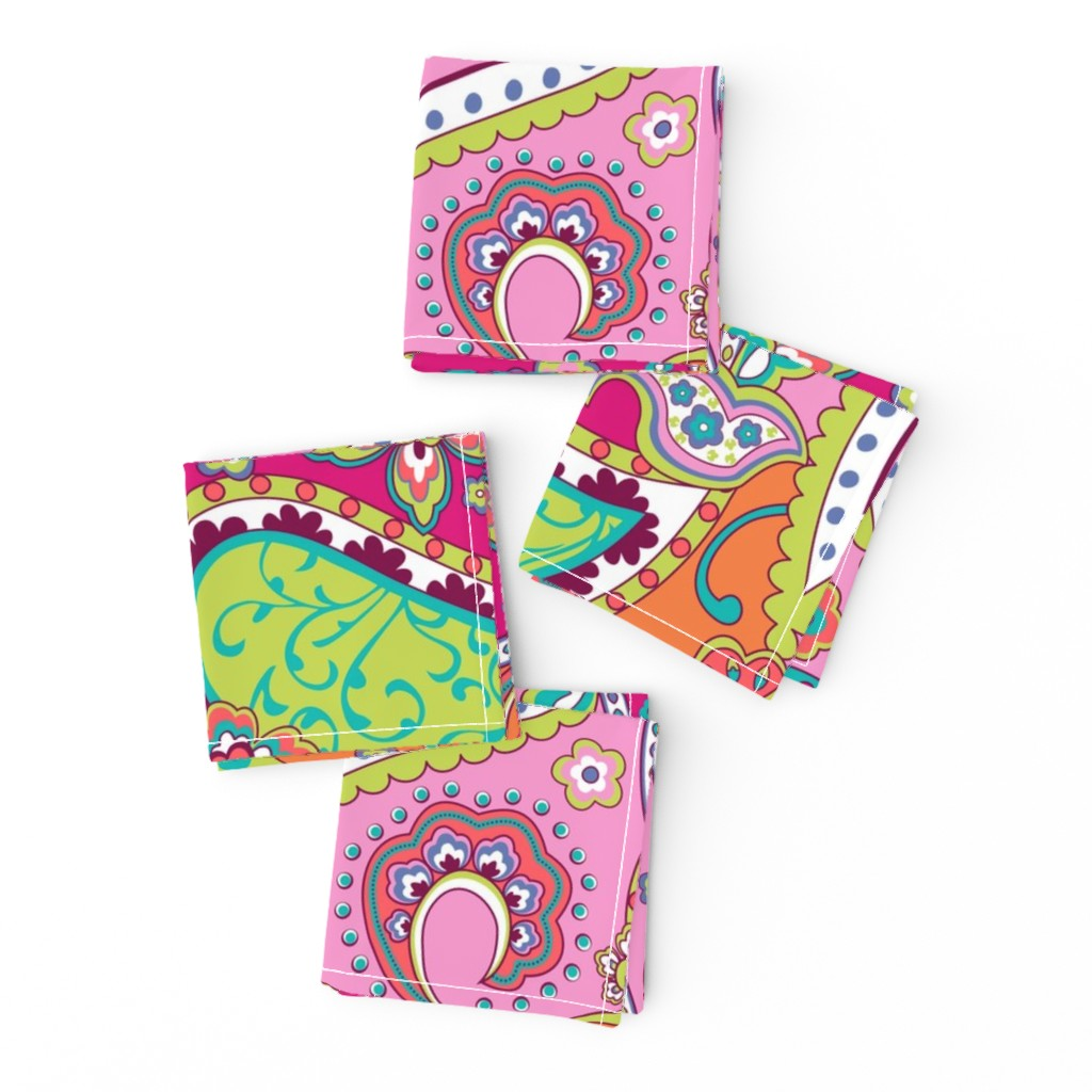 Frizzle Cocktail Napkins featuring Paisley Pink Orange by delinda_graphic_studio