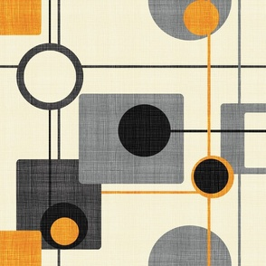 orbs and squares orange and cream
