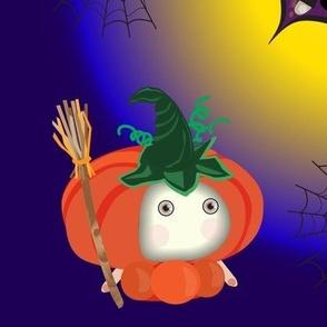 Halloween. Сute bats, pumpkin, hell, death.