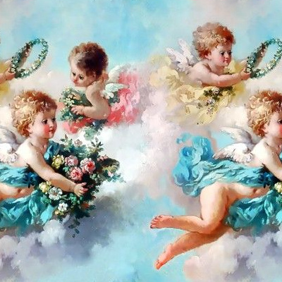 Vintage German Victorian Angel Cupid Putti Cherub Fairy