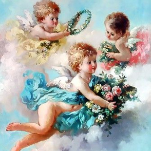 cherubs angels cupid inspired children boys wings sky clouds seamless flowers floral roses wreaths crowns bouquet victorian pink blue yellow shabby chic romantic egl elegant gothic lolita  vintage antique baroque