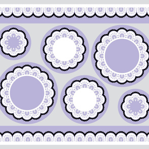 White and Black Skull and Crossbones Lace on Lavender - Cut and Sew Ruffles or Pillows