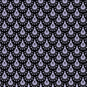 Black Skull and Crossbones Lace on Lavender