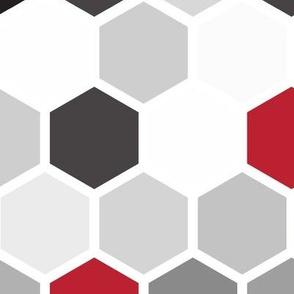 18-07zz Hexagon Red White Gray Black Hexagon Large