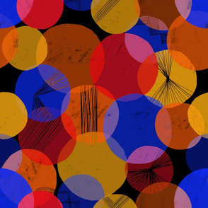 Bauhaus Bubbles (Primary and Black bg) - by Kara Peters
