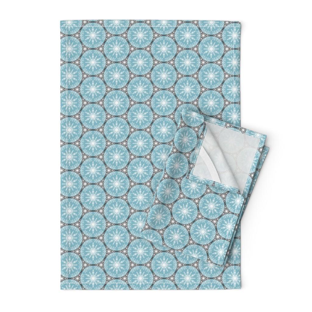 Orpington Tea Towels featuring Snowflake Circles by rebeccajean