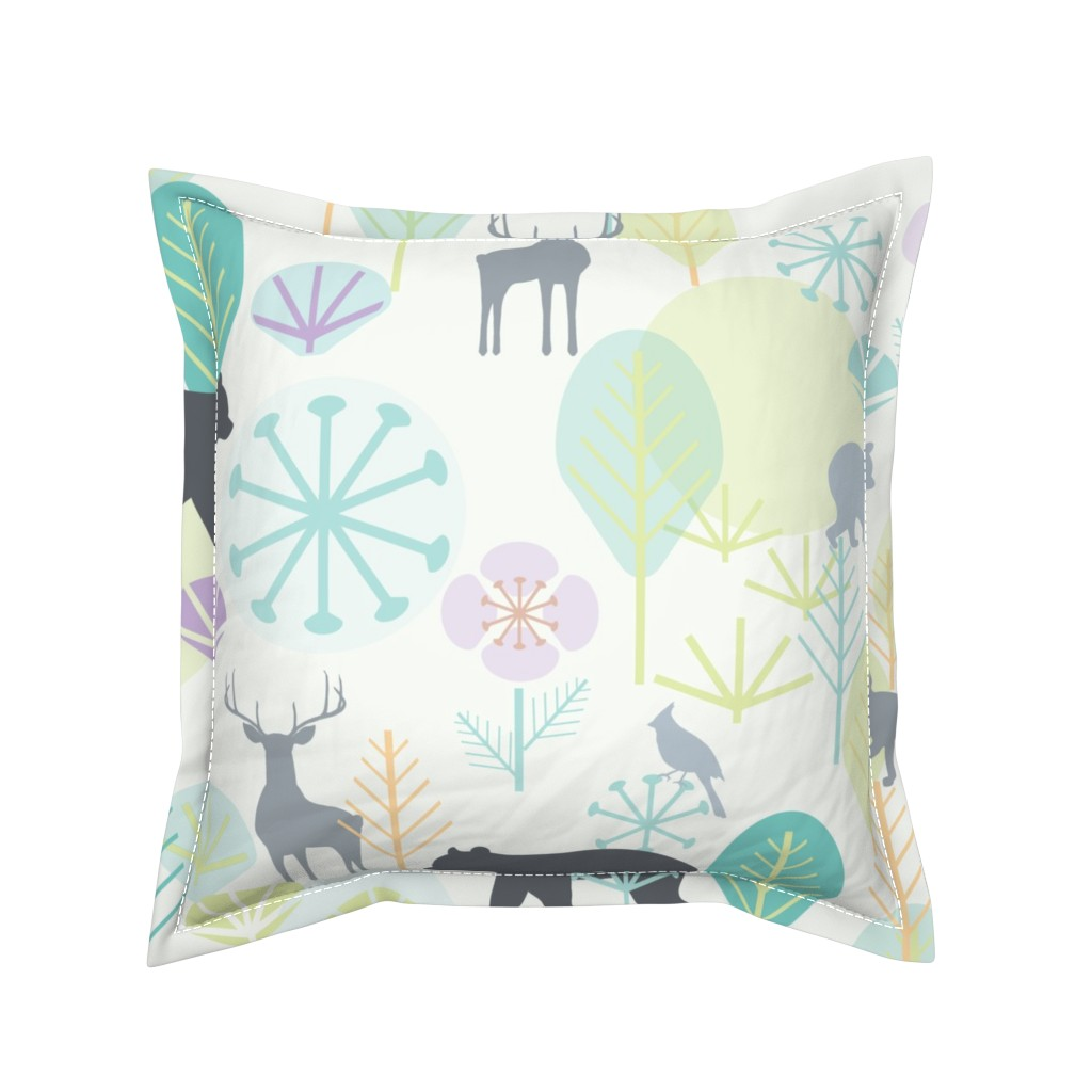 Serama Throw Pillow featuring Katelyn's Forest Large Scale  by katie_hayes