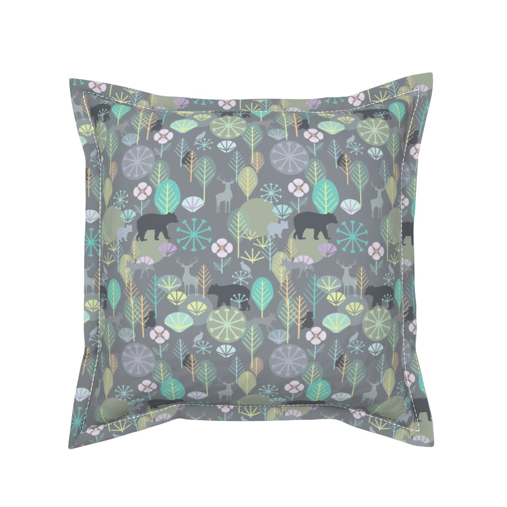 Serama Throw Pillow featuring Katelyn's Forest, Grey, Small by katie_hayes