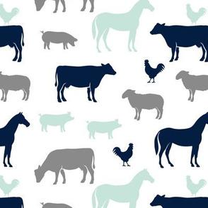 farm animal medley - navy, mint, and grey C18BS
