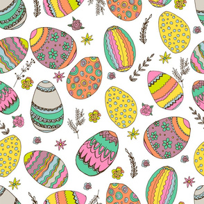 Easter pattern with easter eggs and doodles