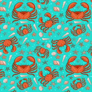 Crabs, starfish and seashells on a turquoise background