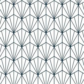 Geometric Hex navy and white