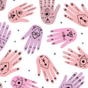 Cool aztec oriental hamsa hand of fatima indian summer hands  happy eid mubarak pink