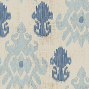 17-11F Distressed Tan Blue Ikat _ Miss Chiff Designs