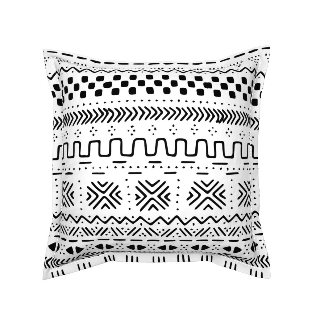 Serama Throw Pillow featuring Big White Mudcloth by brainsarepretty