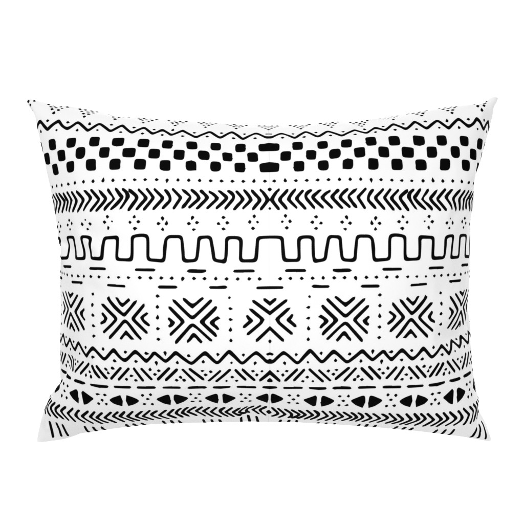Campine Pillow Sham featuring Big White Mudcloth by brainsarepretty