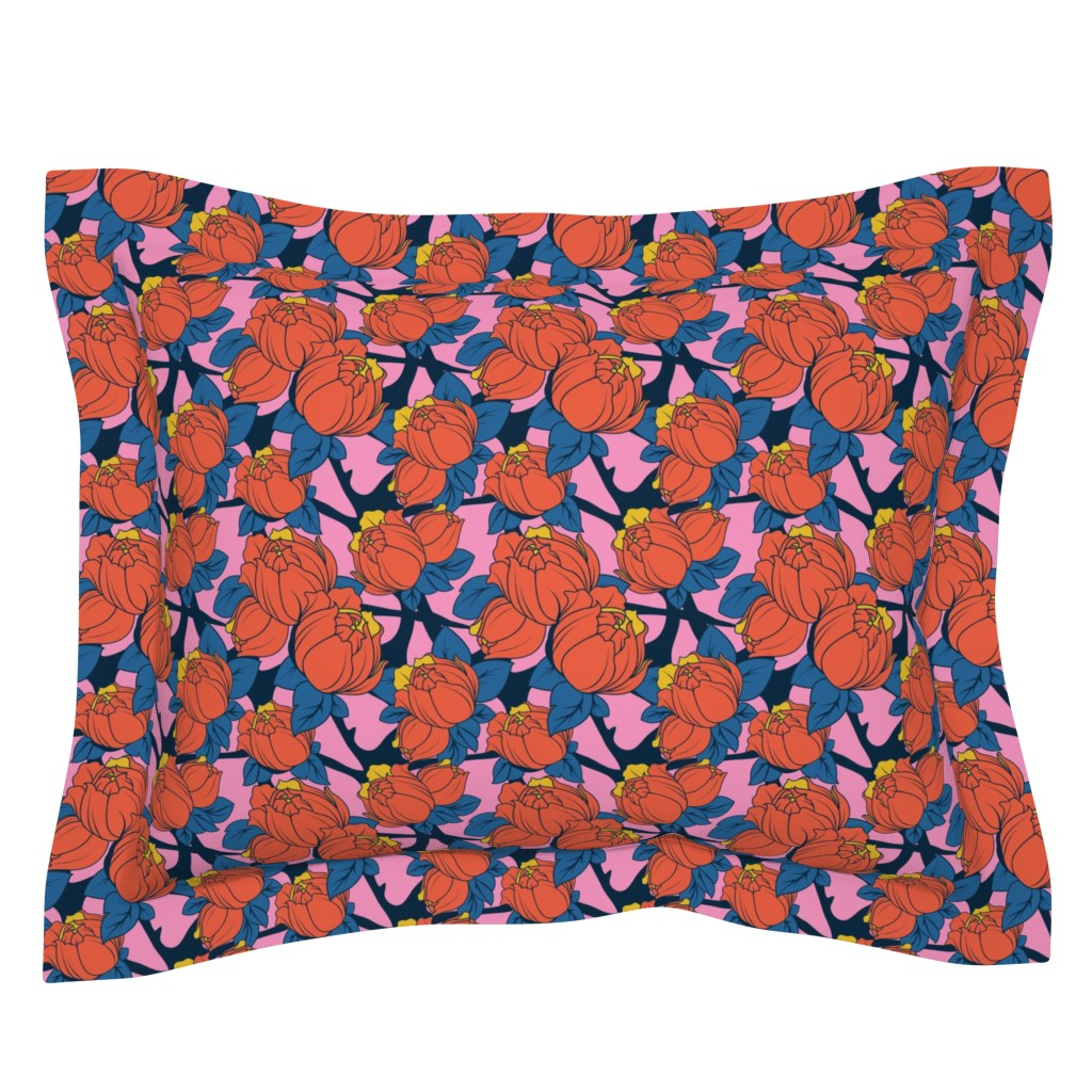 Sebright Pillow Sham featuring peonies-red by lapetitelecour