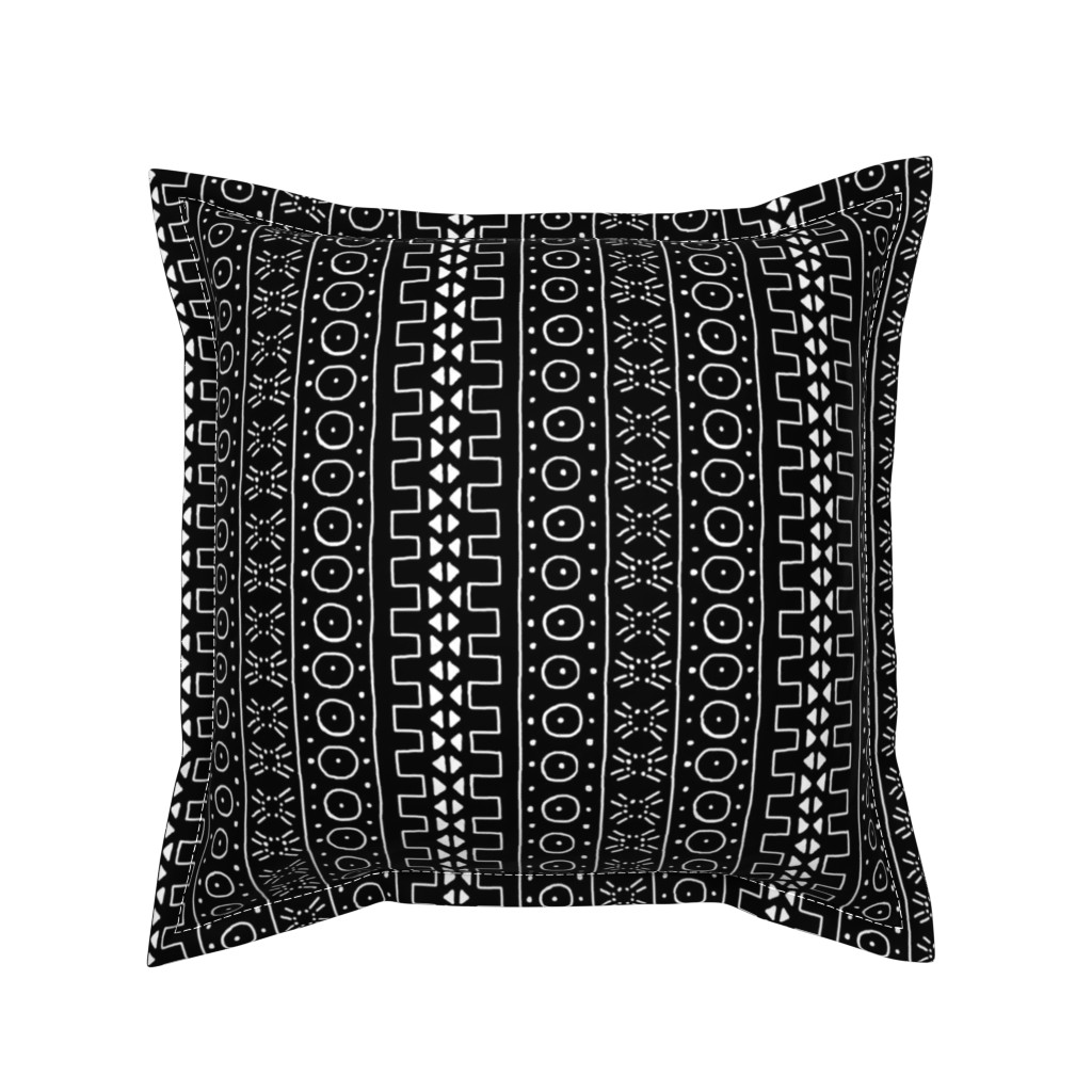 Serama Throw Pillow featuring White on Black Mudcloth Inspired 3 by eclectic_house