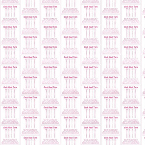 "Sock Heel Turn-pink on white 2.5"" x 2.5"""