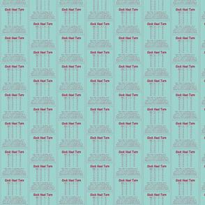 "Sock Heel Turn-red on bluegreen 2.5"" x 2.5"""