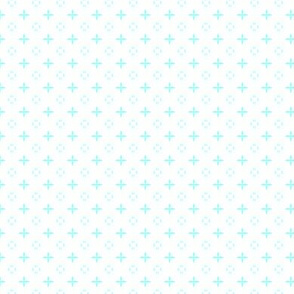 Ditsy print in a rich pale turquoise on white