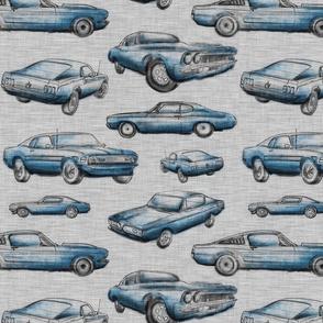 Muscle Cars - blue on grey