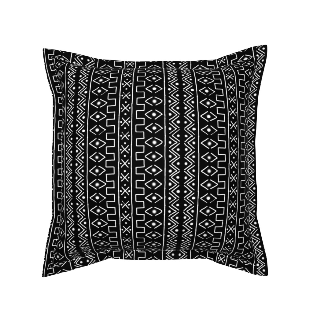 Serama Throw Pillow featuring White on Black Mudcloth Inspired 5 by eclectic_house