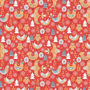 Birds and flowers on a red background. Folk art.