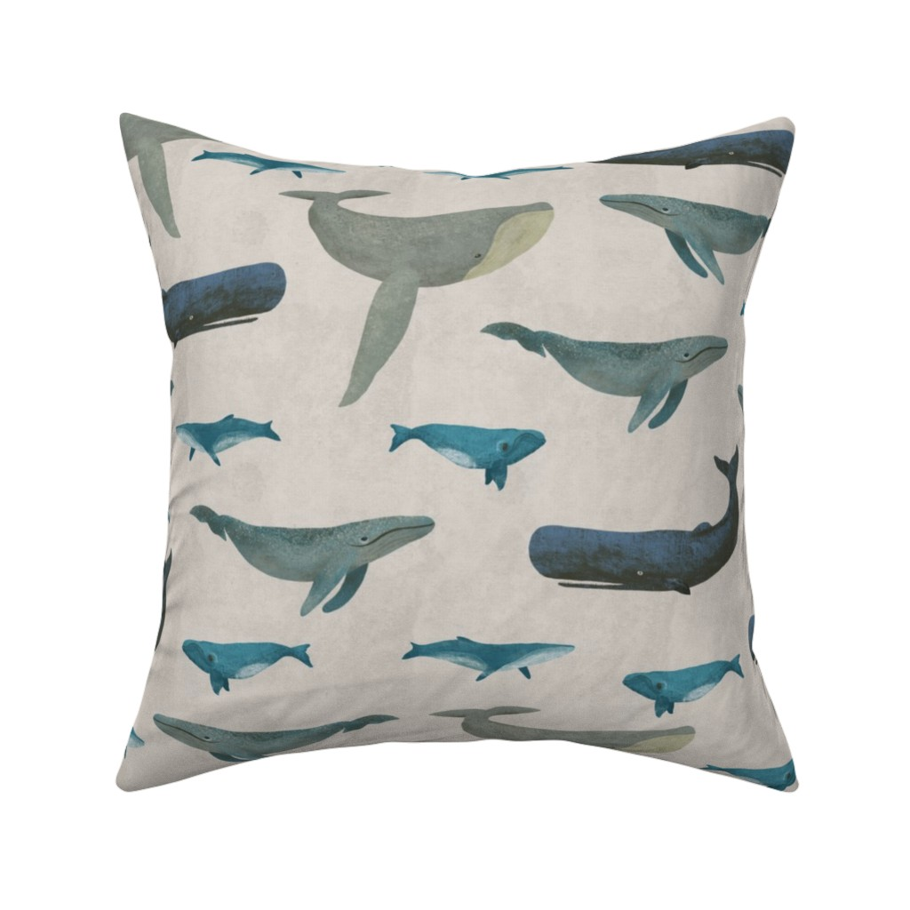 Catalan Throw Pillow featuring Whales by melarmstrong