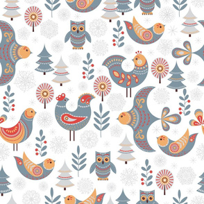 Fabulous birds with ornaments, trees, snowflakes, on a white background.
