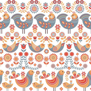 Fabulous birds with ornaments, flowers and leaves, on a white background.