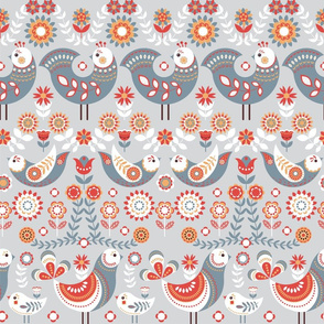 Fabulous birds, flowers and leaves, on a gray background.
