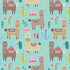 Alpaca Cactus Pattern on Bright Blue Background