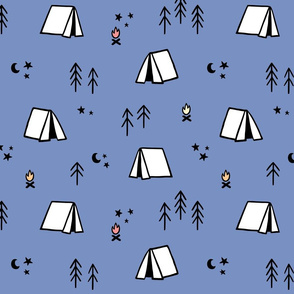 Camping Pattern - Tents, Trees, Moons, and Stars