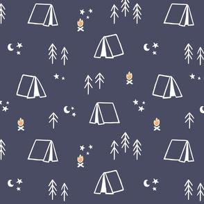 Camp Pattern with Dark Blue Background