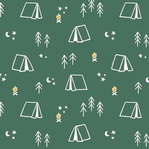Camp Themed Pattern on Dark Green Background